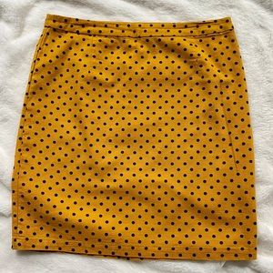 EUC Mustard Yellow Polka Dot Skirt, Size 6